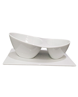 containers 2 bowls 20,5x11,25x8 cm white porcelain (6 unit)