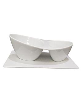 recipientes 2 boles 20,5x11,25x8 cm blanco porcelana (6 unid.)