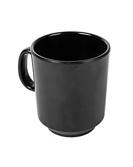 coffee mugs 240 ml Ø 8x9 cm black melamine (12 unit)