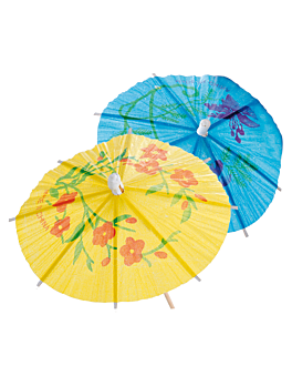 """dÉcors pour glaces """"ombrelle d'indonesie"""" Ø 12x15 cm assorti bois (100 unitÉ)"""