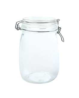 storage jar + clip lid 1 l Ø 11x17 cm clear glass (12 unit)