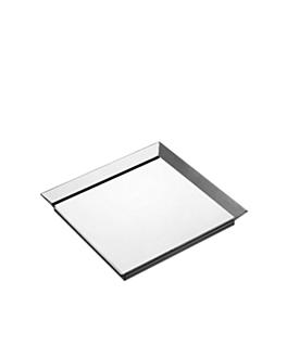 6 u. platos cuadrados 15 cm plateado ps (24 unid.)