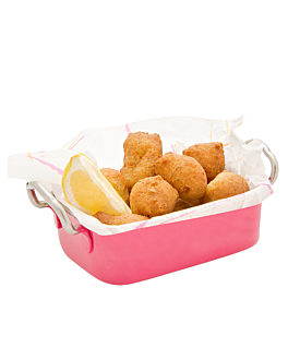 mini pan with handles 14,5x9,5x4,5 cm pink stainless steel (6 unit)