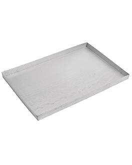 placa pastelera bordes rectos 60x40x3 cm plateado aluminio (1 unid.)