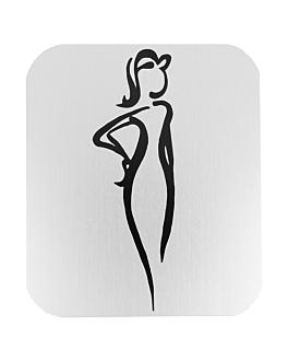 """placa autoadesivas """"senhoras"""" 12,2x14x0,1 cm branco alumÍnio (1 unidade)"""
