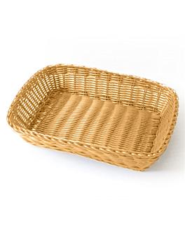 cestas sÍmil mimbre rectangulares 30x22x7 cm naranja pp (12 unid.)