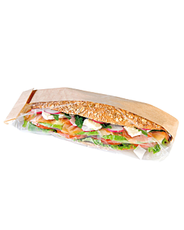 sandwich bags 'corner window' 40 gsm 12+6x38 cm natural kraft (250 unit)