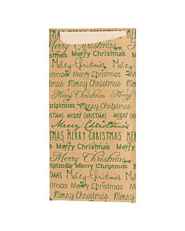 bolsas cubiertos+serv.reciclada 'merry christmas' 80 + 10 pe g/m2 11,2x22,5 cm marrÓn celulosa (250 unid.)