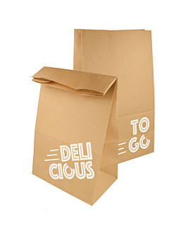 sos bags without handles - delicious to go 48 gsm 22+12x31 cm natural kraft (500 unit)