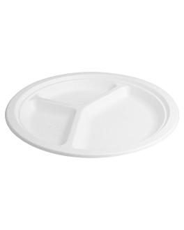 platos 3 compart. 'bionic' Ø 26x2,6 cm blanco bagazo (800 unid.)
