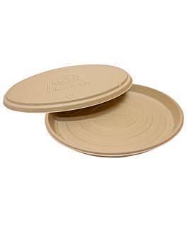 couvercles rÉcipient pour pizza 'bionic' Ø 36,4x1,9 cm naturel bagasse (150 unitÉ)