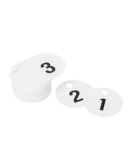 cloakroom duplicate numbers 1-100 Ø 5 cm white pvc (1 unit)
