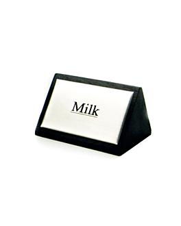 """identificadores """"milk"""" 7,5x4,5 cm negro madera (12 unid.)"""