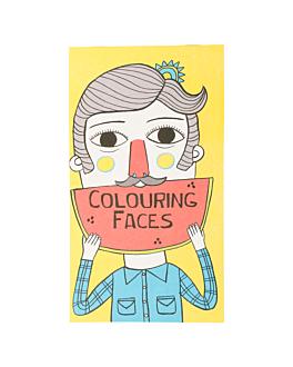 """colouring pads """"faces"""" 100 gsm 12,5x22 cm four coloured cellulose (100 unit)"""