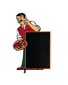 "cartelera exterior ""pizza"" 100x145 cm negro madera (1 unid.)"