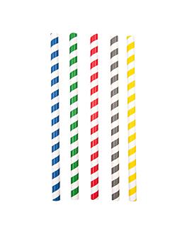 gerade trinkhalme mit streifen Ø1x20 cm sortiment papier (2400 einheit)