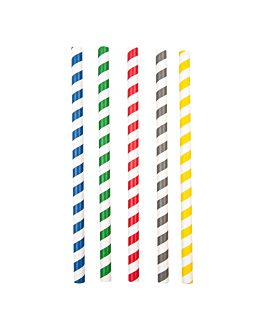 pajitas rectas a rayas Ø1x20 cm surtido papel (2400 unid.)