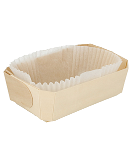 300 u. wooden containers + siliconed molds 18,5x11,5x5,5 cm natural wood (300 unit)
