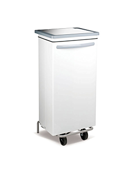 mobile push pedal container 100 l 47x42x97 cm white metal (1 unit)