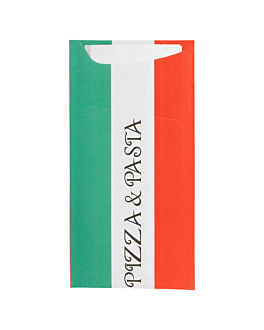 cutlery sachets + napkin 'just in time - pizza & pasta' 90 + 10pe gsm + (18gsm) 11,2x22,5 cm white cellulose (400 unit)