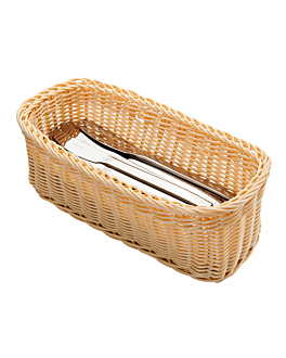 elongated cutlery baskets 28x11x10 cm natural pp (4 unit)