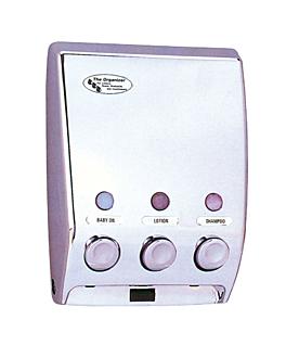 distributeur savon 3 produits 20x9,7x27 cm argente chrome (1 unitÉ)