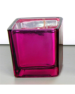 bougie verre 5,1x5,1 cm prune paraffine (12 unitÉ)