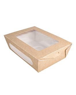 salad boxes with window 1200 ml 391 gsm + pe 20,4x14,2x6 cm brown cardboard (200 unit)