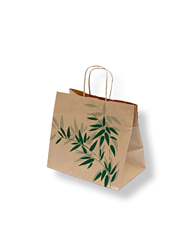 "bolsas sos con asas ""traiteur"" 'feel green' 80 g/m2 26+17x24 cm natural kraft (250 unid.)"