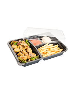coffrets pour repas 4 compart. 24,2x18,2x4,5 cm noir pp (400 unitÉ)