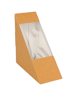 sandwich boxes with window - triangular 300 gsm 12,4x12,4x5,5 cm brown cardboard (100 unit)