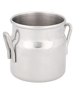 mini pots À lait 90 ml Ø 4,5x5 cm argente inox (12 unitÉ)