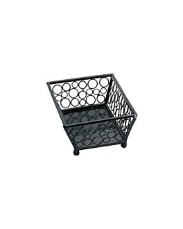 cestas retangulares 21x14x6,5 cm preto aÇo (1 unidade)