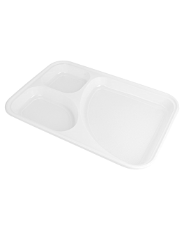 take away trays, 3 compartments 31,5x21 cm white ps (400 unit)