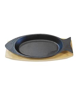 prato peixe + base em madeira 32x13 cm preto ferro (8 unidade)