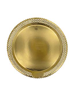 assiettes dentelÉes 'erik' 1200 g/m2 + 300 g/m2 pp Ø 35 cm dore carton (100 unitÉ)