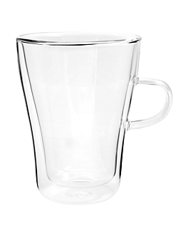 double wall cups 310 ml 11,5 (h) cm clear borosilicate glass (12 unit)