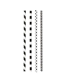 gerade trinkhalme mit streifen und punkten Ø0,60x20 cm sortiment papier (3000 einheit)