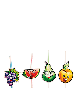 fancy flexible straws - fruits moving eyes 24 cm assorted pp (1000 unit)