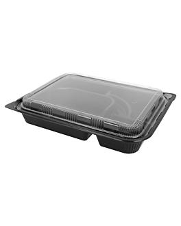 4 compartment take-away cases 27x20,6x5 cm black pp (300 unit)