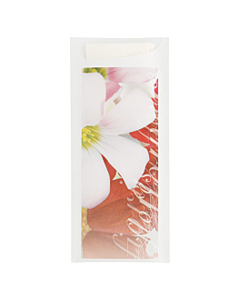 "cutlery sachets + napkin ""flowers"" 'just in time' , 90 + 10pe gsm 8,5x19,5 cm white airlaid (250 unit)"