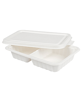 2 compartments trays + lid 'bionic' 800 ml 23,3x14,6x6 cm white bagasse (400 unit)
