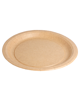 round bio-lacquered plates 260 gsm Ø 22 cm natural cardboard (400 unit)