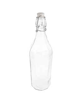 bottle + swing stopper 1 l Ø 8,5x32,5 cm clear glass (12 unit)