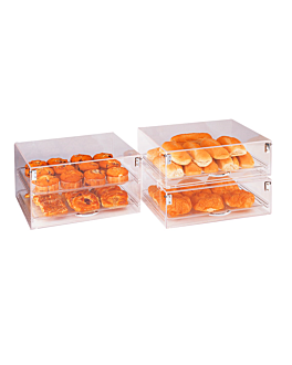 stackable cake display 2 levels 47x36x25,5 cm clear acrylic (1 unit)