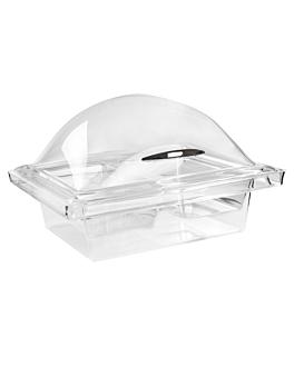 cÚpula con base 2 compartimentos 36x31x21,5 cm transparente acrÍlico (1 unid.)