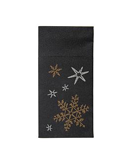 servilletas canguro 'christmas night' 55 g/m2 40x40 cm negro airlaid (700 unid.)