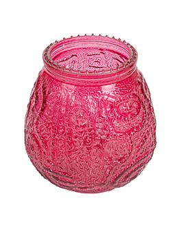 vaso para velas 9,5x9,5 cm rojo cristal (60 unid.)