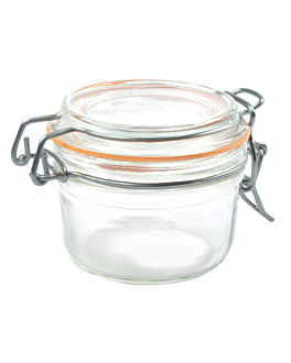 storage jar + clip lid 125 ml Ø 8,3x10,5 cm clear glass (48 unit)