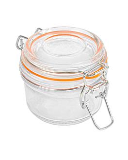 storage jar + clip lid 125 ml Ø 8,3x10,5 cm clear glass (48 unit)